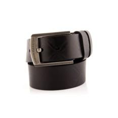 Черный мужской кожаный ремень тип 34-6