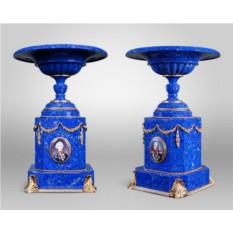 Парные вазы из лазурита Великие полководцы