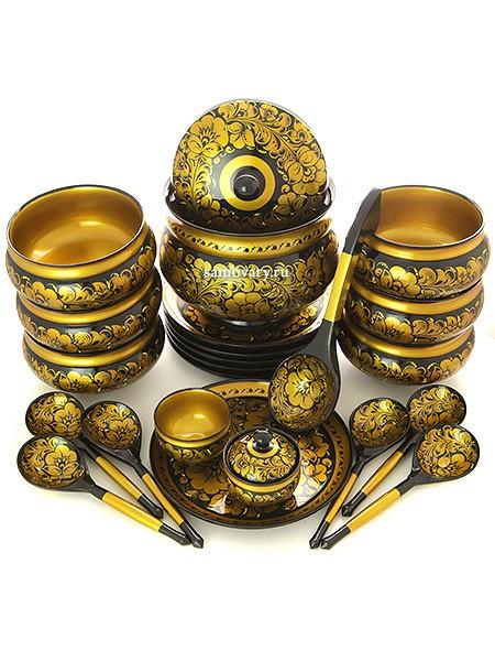 Набор для супа Золотая кудрина на черном фоне 22 предмета