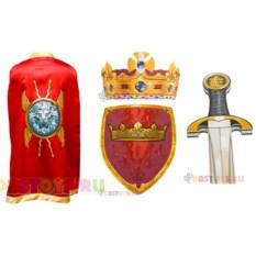 Карнавальный костюм короля с красным плащом