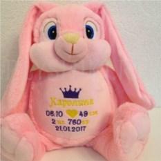 Мягкая именная игрушка Розовый зайка