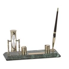 Мраморный настольный набор из ручки, часов и визитницы