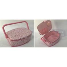 Розовая шкатулка для рукоделия Сундук, размер 23х18х11 см