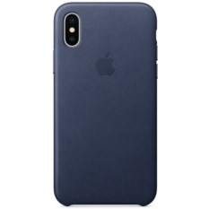Чехол Apple Leather Case Midnight Blue для iPhone X