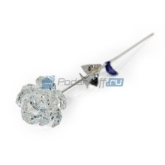 Серебряная роза с хрустальным бутоном