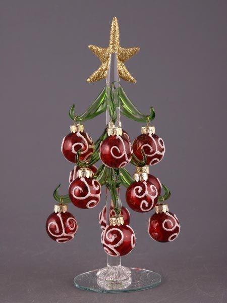 Елочка декоративная с шарами (бордовыми) с серебрист. узором