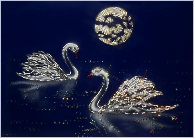 Картина с кристаллами Swarovski Лебеди