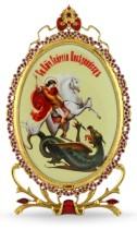 Серебряная настольная икона с образом святого великомученика Георгия Победоносца