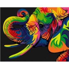 Картина по номерам «Радужный слон»