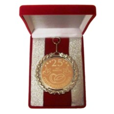 Медаль 25 лет вместе. Серебряная свадьба