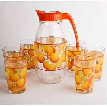 Набор: 6 стаканов и графин Апельсин