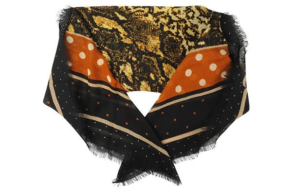 Черный женский платок Fabretti (шерсть)
