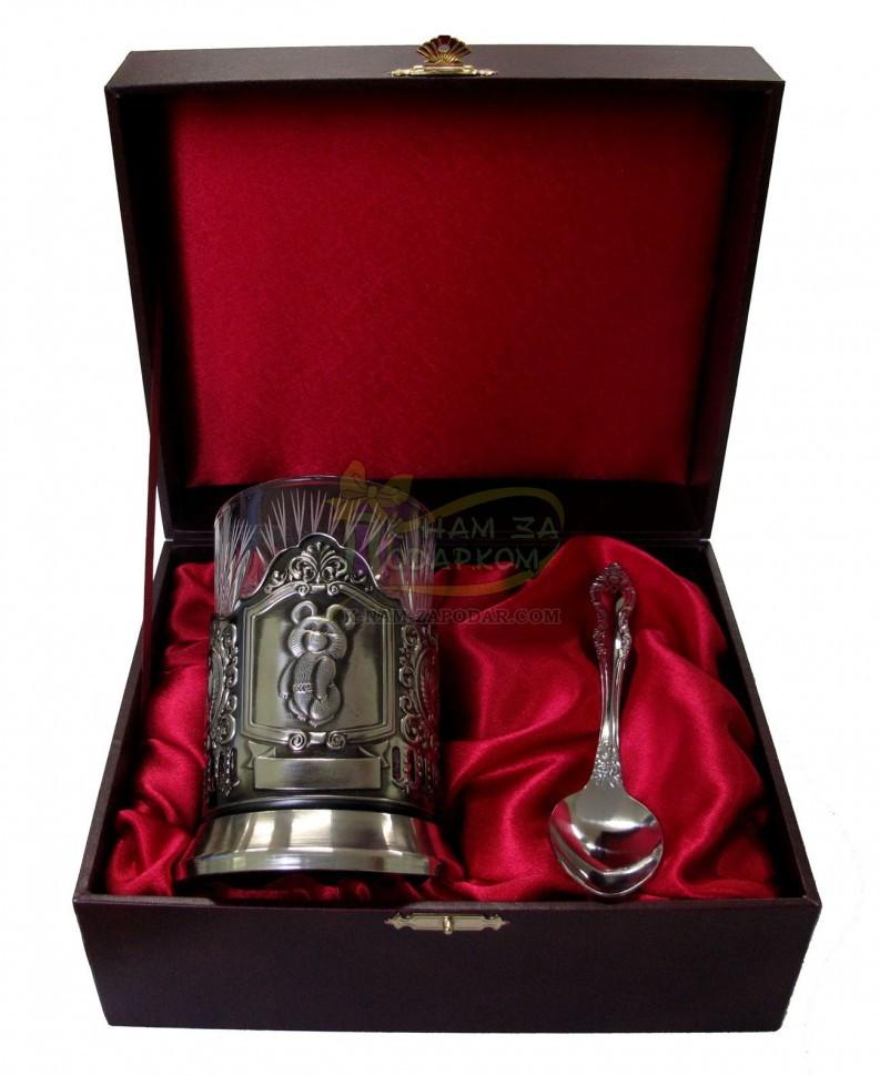 Чайный подарочный набор (черненый подстаканник) Олимпийский Мишка в футляре
