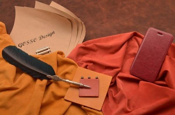 Кожаный чехол-книжка для iPhone 6 «Бордовый сапсан»