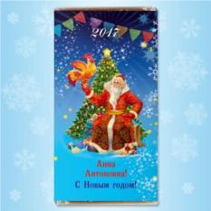 Шоколадная открытка «Дед Мороз и Петушок Золотой гребешок»