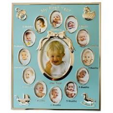 Коллаж из тринадцати фоторамок С первым днем рождения