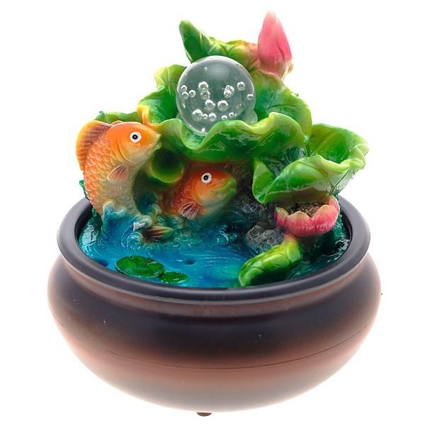 Настольный декоративный фонтан Золотые рыбки с подсветкой