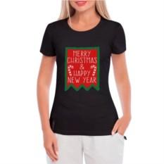 Черная женская футболка Merry Christmas