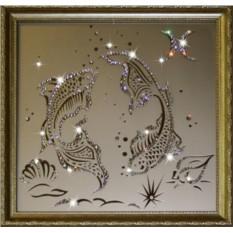 Картина с кристаллами Swarovski Рыбы 35х35 см
