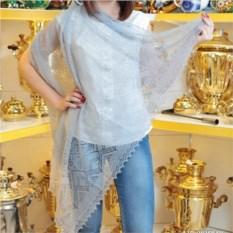 Пуховый оренбургский платок (голубой, паутинка)