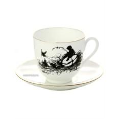 Чашка с блюдцем кофейная Мальчик, серия Силуэты