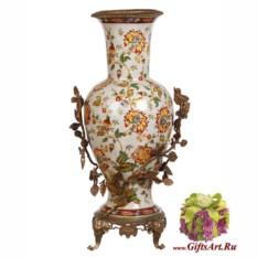Напольная ваза Флора из фарфора и бронзы 52 см