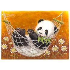 Картина-раскраска по номерам на холсте Панда милаха