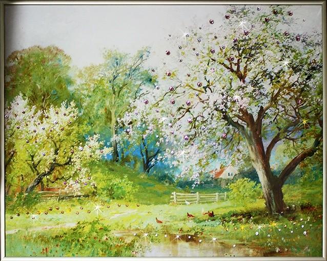 Картина с кристаллами Swarovski Весенний Сад 2