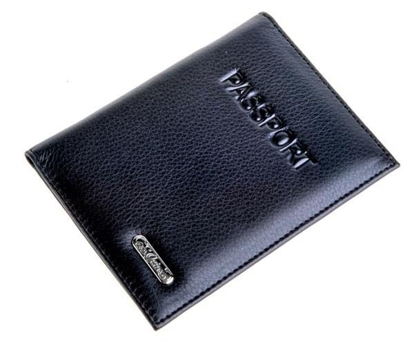 Обложка для паспорта, кожа черная. S.QUIRE