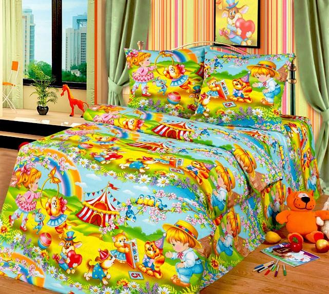 Разноцветный комплект белья в кроватку из бязи (Cleo)
