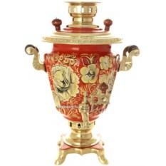 Самовар на 3 литра с росписью Золотые цветы на красном