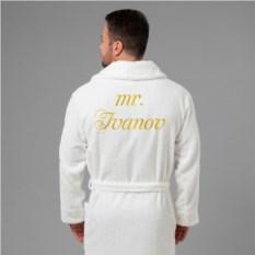 Мужской халат с вышивкой Мистер