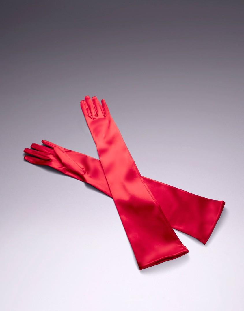Красные перчатки Long Satin