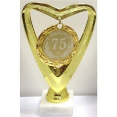 Кубок-сердце с медалью С Юбилеем 75 лет