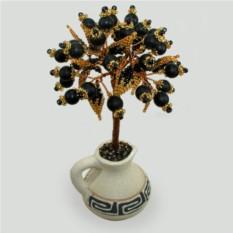 Дерево из черного агата в вазочке из белой глины