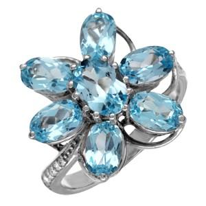 Кольцо из белого золота с бриллиантом и топазом