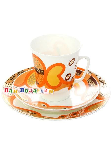 Комплект кофейный: чашка и два блюдца Мотив