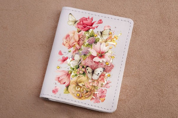 Горизонтальный кардхолдер - книжка из кожи Весенний букет