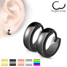 Черные серьги-кольца из ювелирной стали Spikes