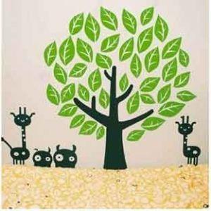 Стикер настенный Дерево и жирафы