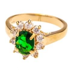 Позолоченное кольцо с зелёным цирконом Классик