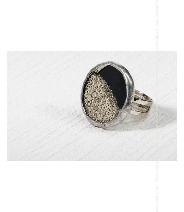 Кольцо Микробисер (серебряный)