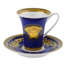 Кофейная пара Versace Medusa, синяя