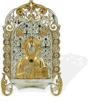 Серебряная настольная икона с образом Господа Вседержителя