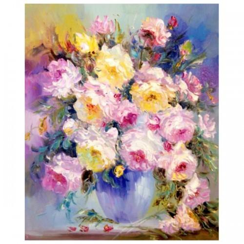 Картина-раскраска по номерам на холсте Нежные цветы