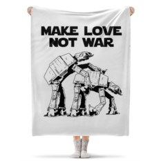 Флисовый плед 130х170 см Make love not war. Звёздные войны