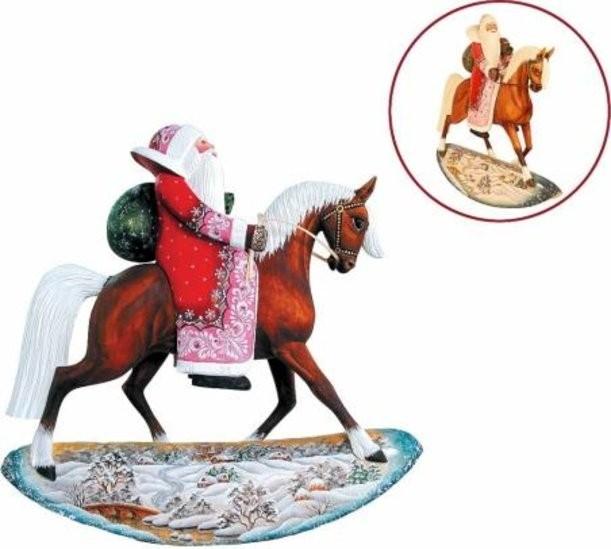 Новогодняя коллекционная игрушка Дед Мороз на лошади