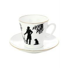 Фарфоровая кофейная чашка с блюдцем Встреча