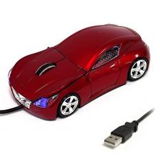 Мышь для ПК в виде гоночного авто красная.