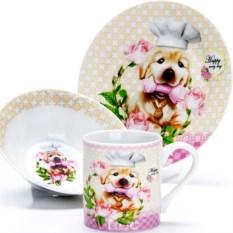 Набор детской посуды 3 предмета Собачка с цветами